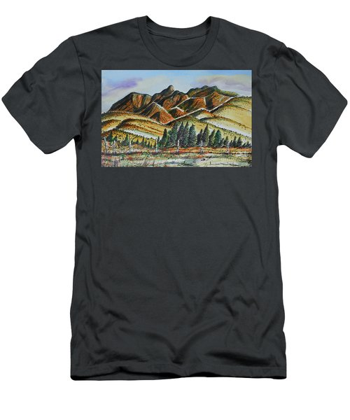 Men's T-Shirt (Slim Fit) featuring the painting New Mexico Back Country by Terry Banderas