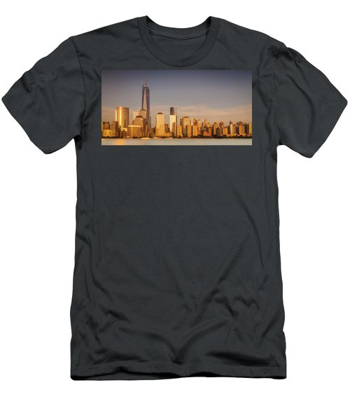 New World Trade Memorial Center And New York City Skyline Panorama Men's T-Shirt (Slim Fit) by Ranjay Mitra