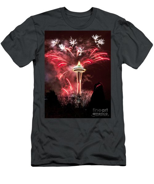 Men's T-Shirt (Athletic Fit) featuring the photograph New Years At The Space Needle by Peter Simmons