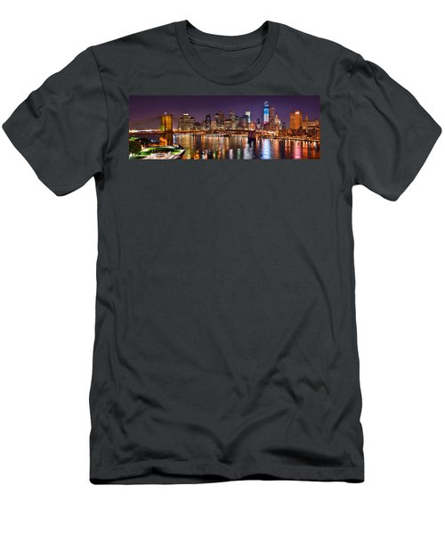 New York City Brooklyn Bridge And Lower Manhattan At Night Nyc Men's T-Shirt (Athletic Fit)