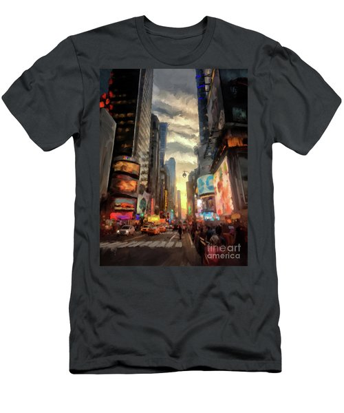 Men's T-Shirt (Slim Fit) featuring the photograph New York City Lights by Lois Bryan