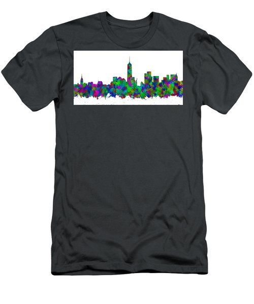 New York City Skyline Abstract Silhouette I Men's T-Shirt (Athletic Fit)