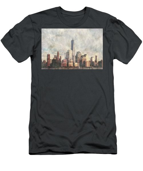 Men's T-Shirt (Athletic Fit) featuring the photograph New York City Skyline Including The World Trade Centre by Anthony Murphy