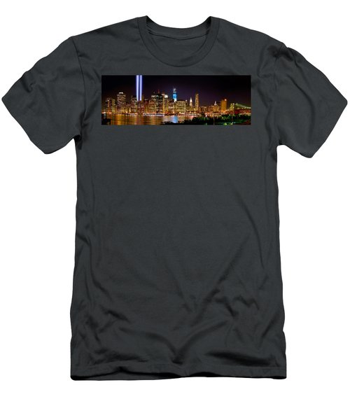 New York City Tribute In Lights And Lower Manhattan At Night Nyc Men's T-Shirt (Athletic Fit)