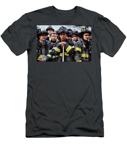 Men's T-Shirt (Slim Fit) featuring the painting New York Firefighters After 9/11 by Kai Saarto