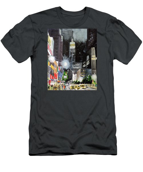 Men's T-Shirt (Slim Fit) featuring the painting New York Night by Tom Riggs