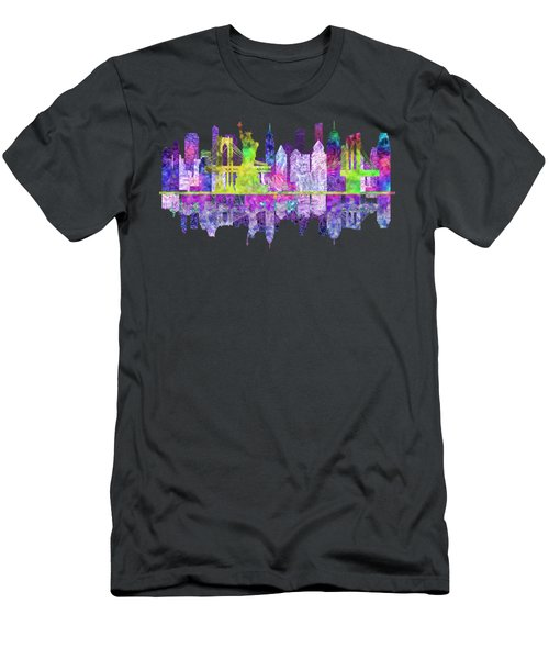 New York Skyline Glowing Men's T-Shirt (Slim Fit) by John Groves