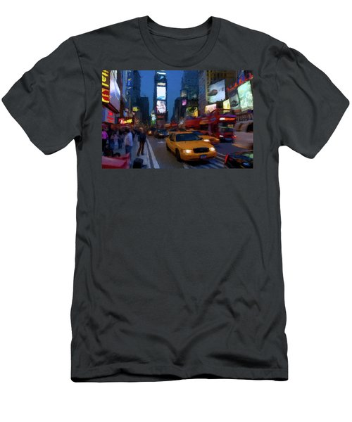 Men's T-Shirt (Slim Fit) featuring the painting New York Yellow Cab by David Dehner
