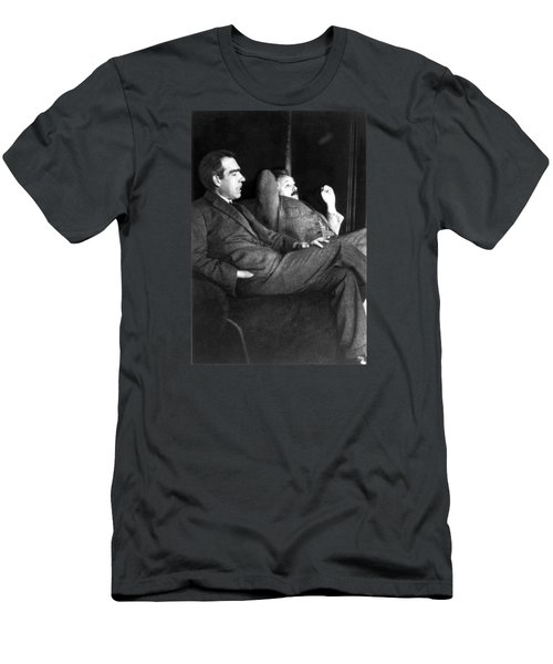 Men's T-Shirt (Athletic Fit) featuring the pyrography Niels Bohr And Albert Einstein by Artistic Panda