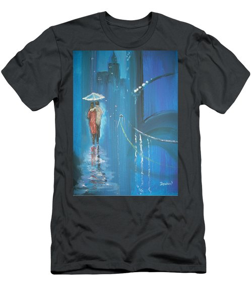 Men's T-Shirt (Slim Fit) featuring the painting Night Love Walk by Raymond Doward