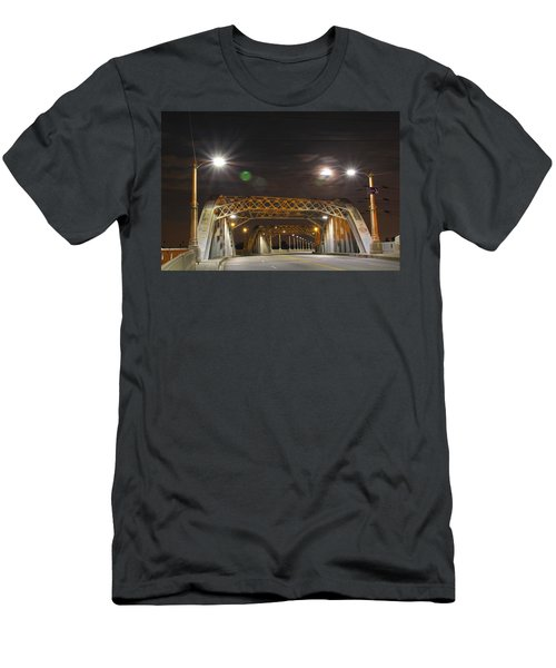 Night Shot Of The Los Angeles 6th Street Bridge And Supermoon #5 Men's T-Shirt (Athletic Fit)