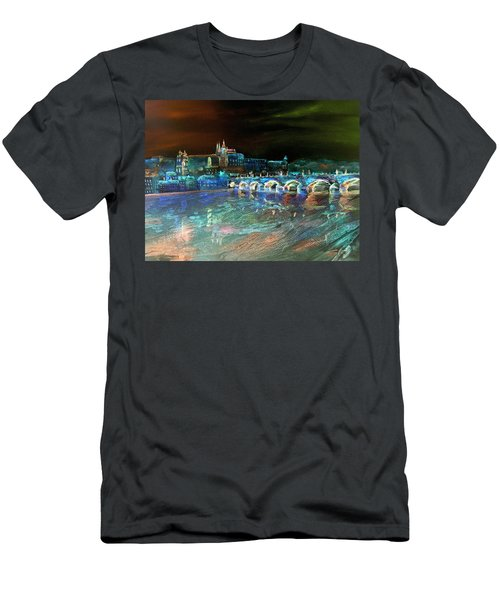 Men's T-Shirt (Athletic Fit) featuring the mixed media Night Sky Over Prague by Elizabeth Lock