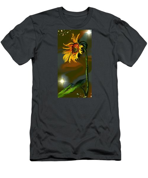 Men's T-Shirt (Athletic Fit) featuring the digital art Night Sunflower by Darren Cannell