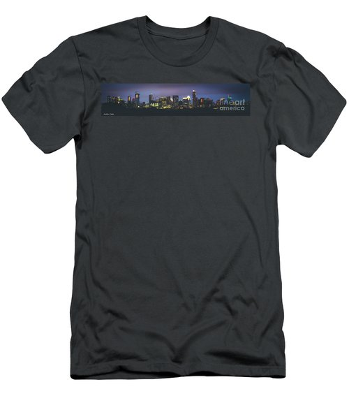 Night View Of Downtown Skyline In Winter Men's T-Shirt (Athletic Fit)