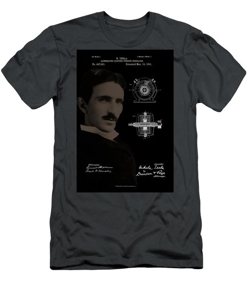 Nikola Tesla Patent Drawing Men's T-Shirt (Athletic Fit)