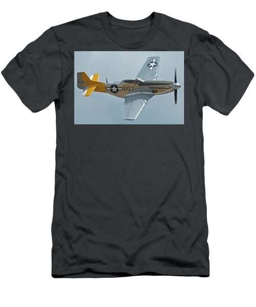 Men's T-Shirt (Slim Fit) featuring the photograph North American P-51d Mustang Nl5441v Dolly/spam Can Chino California April 30 2016 by Brian Lockett