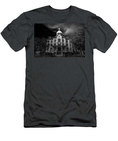 Men's T-Shirt (Slim Fit) featuring the photograph Notre Dame University Black White 3a by David Haskett