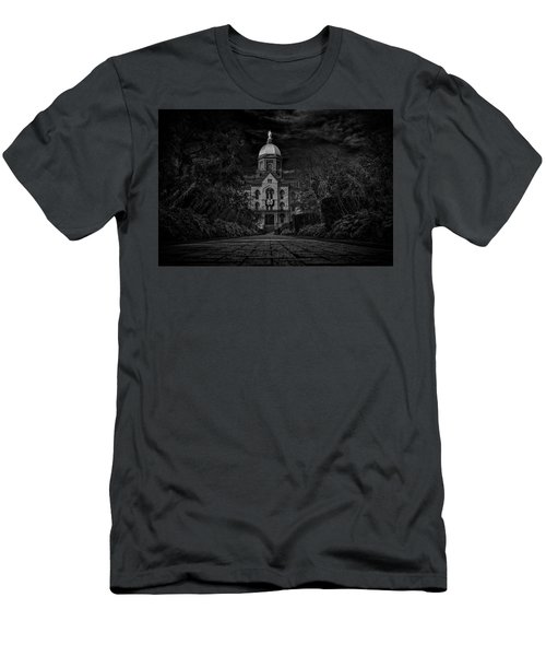 Men's T-Shirt (Slim Fit) featuring the photograph Notre Dame University Golden Dome Bw by David Haskett