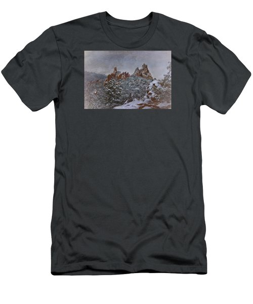 Men's T-Shirt (Slim Fit) featuring the photograph November Snow - Garden Of The Gods by Ellen Heaverlo
