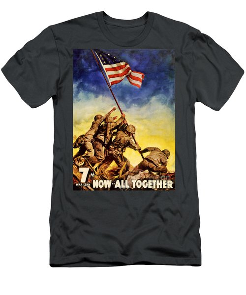 Now All Together Vintage War Poster Restored Men's T-Shirt (Athletic Fit)