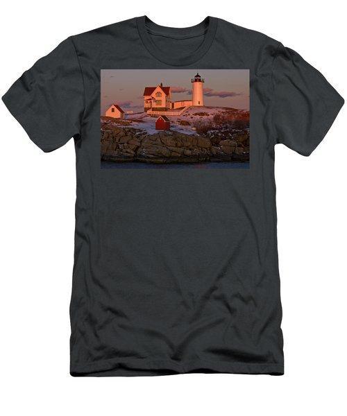 Nubble Light At Sunset Men's T-Shirt (Athletic Fit)