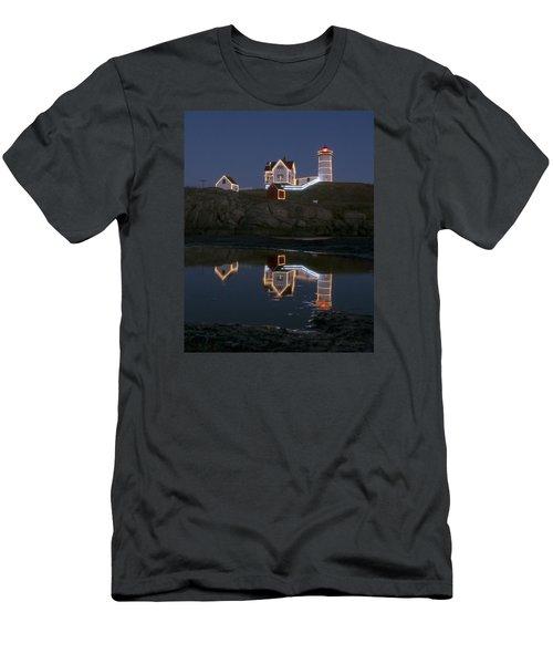 Nubble Light York Maine At Blue Hour Men's T-Shirt (Athletic Fit)