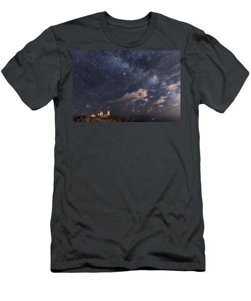 Nubble Lighthouse Under The Milky Way Men's T-Shirt (Athletic Fit)