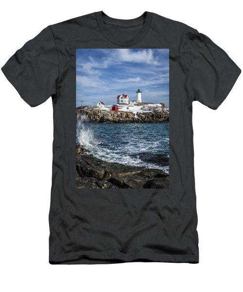 Nubble Lighthouse Winter Men's T-Shirt (Athletic Fit)