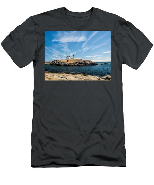 Nubble Lighthouse With Dramatic Clouds Men's T-Shirt (Slim Fit) by Nancy De Flon