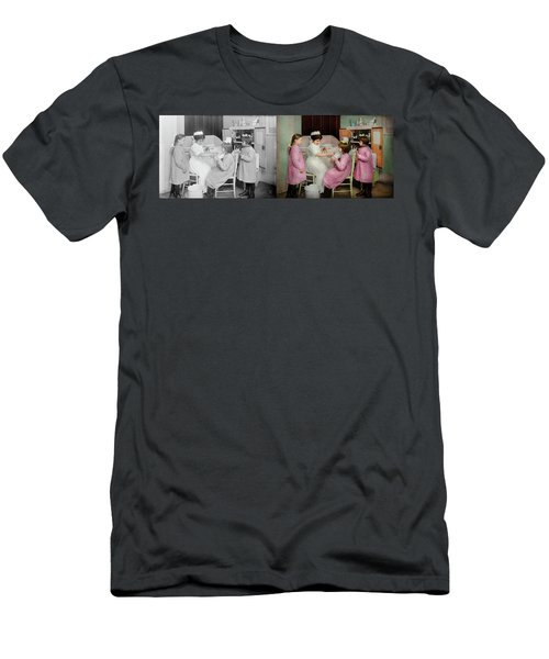 Men's T-Shirt (Athletic Fit) featuring the photograph Nurse - Playing Nurse 1918 - Side By Side by Mike Savad