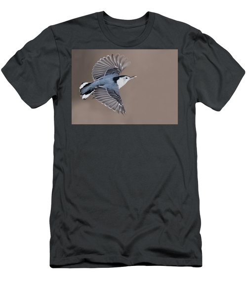 Men's T-Shirt (Slim Fit) featuring the photograph Nuthatch In Flight by Mircea Costina Photography