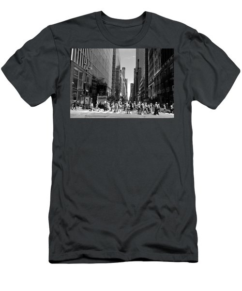 Nyc 42nd Street Crosswalk Men's T-Shirt (Slim Fit) by Matt Harang