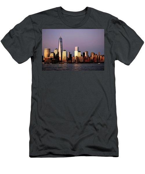 Nyc Skyline At Dusk Men's T-Shirt (Slim Fit) by Matt Harang