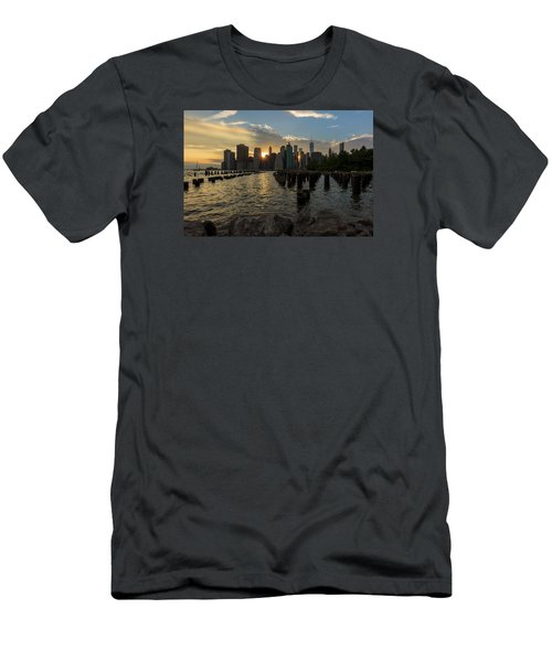 Men's T-Shirt (Slim Fit) featuring the photograph Nyc Sunset by Anthony Fields