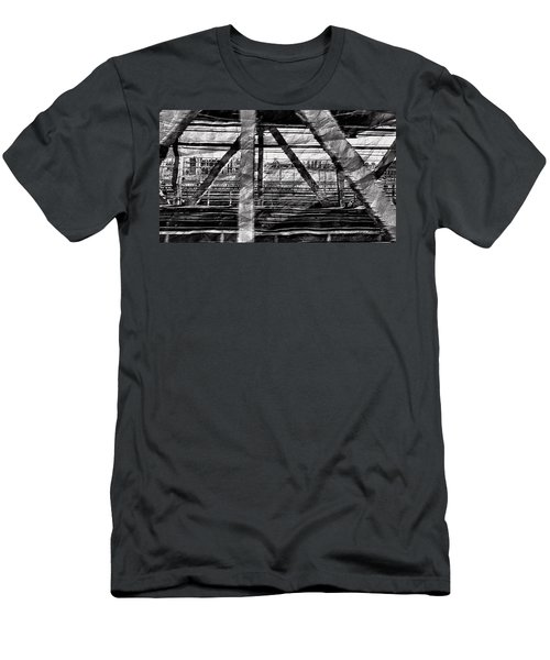 Men's T-Shirt (Athletic Fit) featuring the photograph Nyc Train Bridge Tracts by Joan Reese