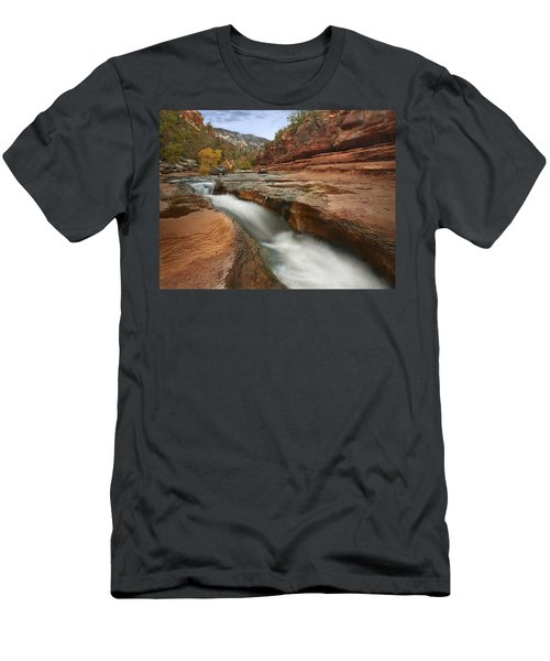 Men's T-Shirt (Athletic Fit) featuring the photograph Oak Creek In Slide Rock State Park by Tim Fitzharris