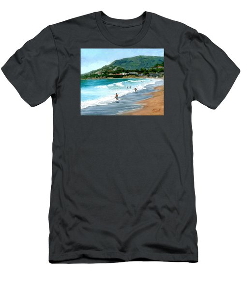 Oak Street Beach, Laguna Beach Men's T-Shirt (Slim Fit) by Alice Leggett