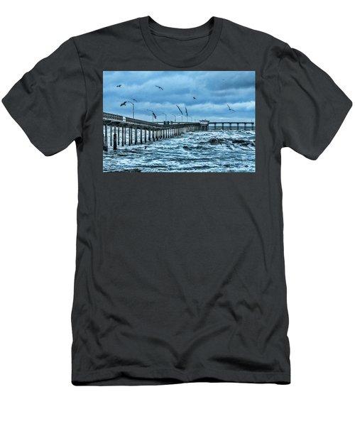 Ocean Beach Fishing Pier Men's T-Shirt (Slim Fit)