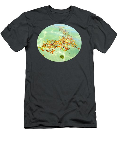 Men's T-Shirt (Slim Fit) featuring the photograph Ocean Flowers Oval by Linda Hollis