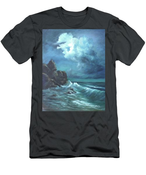 Men's T-Shirt (Slim Fit) featuring the painting Seascape And Moonlight An Ocean Scene by Luczay