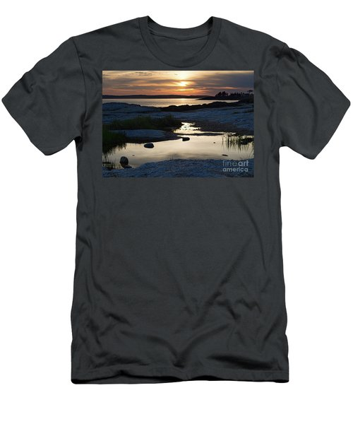 Ocean Point Sunset In East Boothbay Maine  -23091-23093 Men's T-Shirt (Athletic Fit)