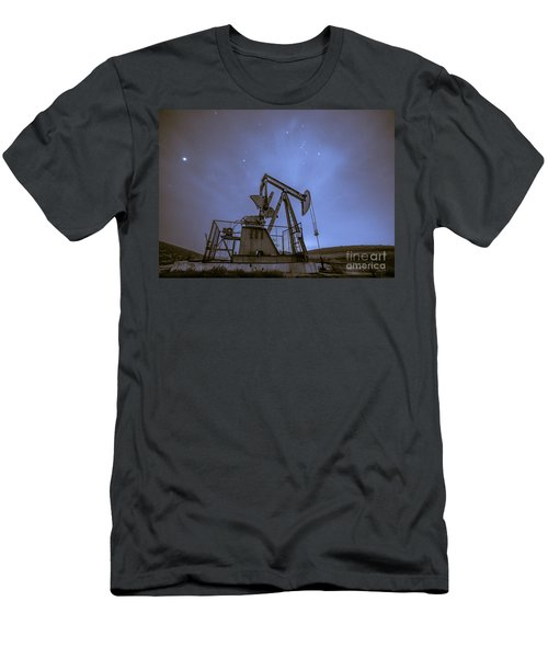 Oil Rig And Stars Men's T-Shirt (Athletic Fit)