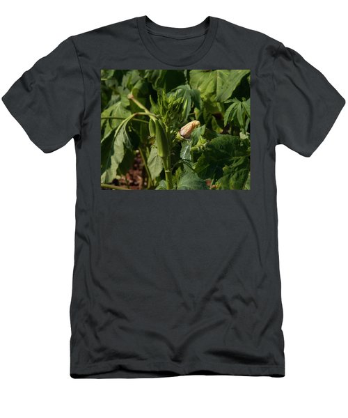 Men's T-Shirt (Athletic Fit) featuring the photograph Okra On The Stalk by Chris Flees