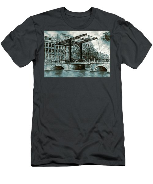 Old Amsterdam Bridge In Dutch Blue Water Colors Men's T-Shirt (Athletic Fit)