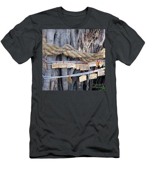 Old Banyan Wishing Tree Men's T-Shirt (Slim Fit) by Yali Shi