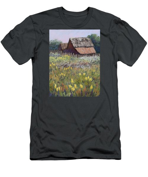 Men's T-Shirt (Slim Fit) featuring the painting Old Barn In Spring by Nancy Jolley