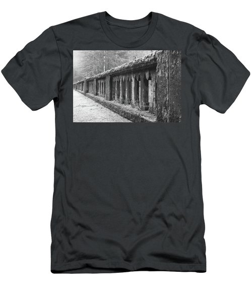 Old Bridge In Black And White Men's T-Shirt (Slim Fit) by Angi Parks