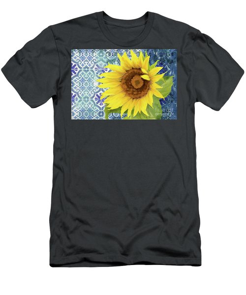 Men's T-Shirt (Athletic Fit) featuring the painting Old Havana Sunflower - Cobalt Blue Tile Painted Over Wood by Audrey Jeanne Roberts