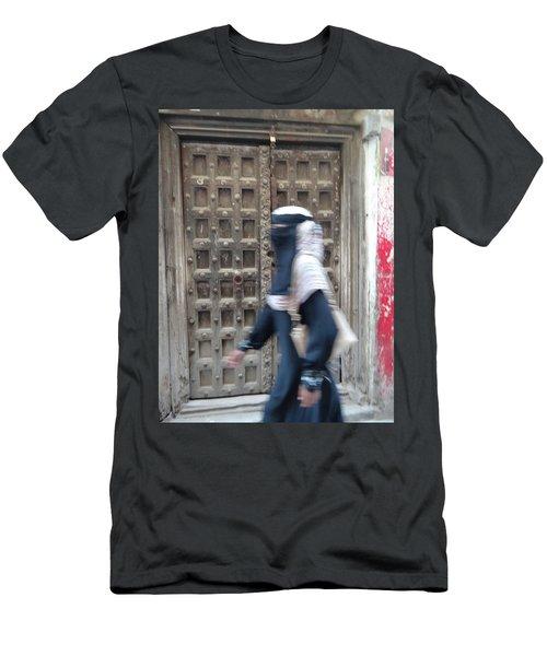 Old Lamu Town Muslim Woman Walking Men's T-Shirt (Slim Fit) by Exploramum Exploramum