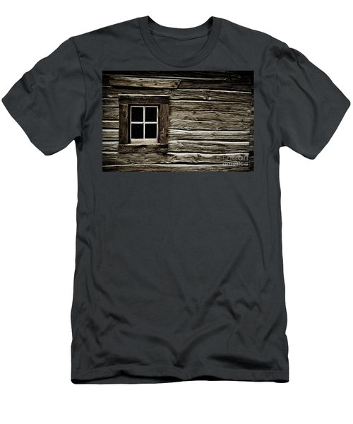 Men's T-Shirt (Slim Fit) featuring the photograph Old Log Cabin by Brad Allen Fine Art